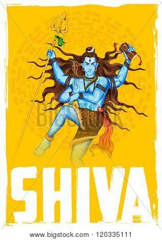 illustration of Lord Shiva, Indian God of Hindu with mantra Om Namah Shivaya ( I bow to Shiva )