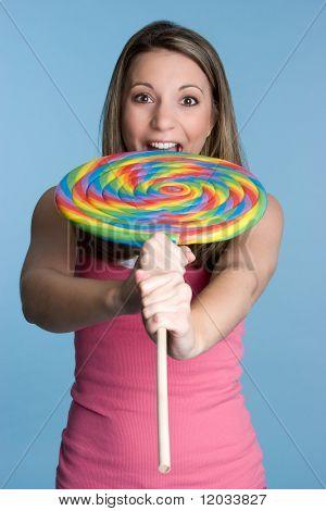 Girl Eating Giant Lollipop