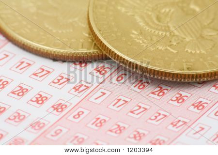 Lottery Ticket And Coins