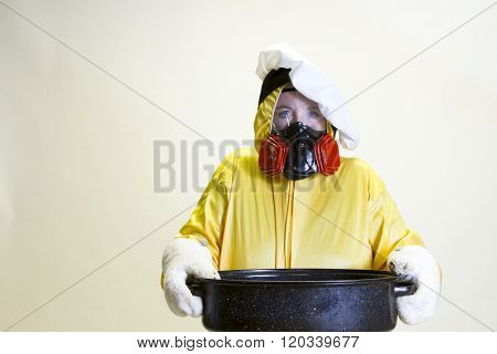 Kitchen Disaster, Hazmat Suit And Chef Hat