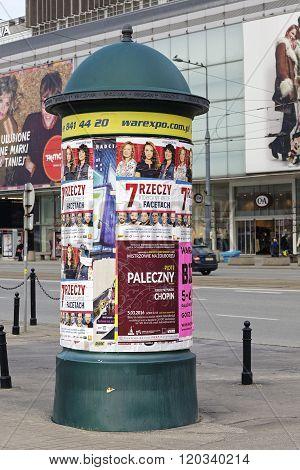 Advertising Pillar In Warsaw