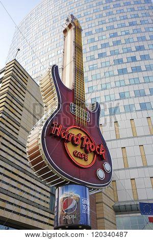 Hard Rock Cafe Symbol In Warsaw, Poland