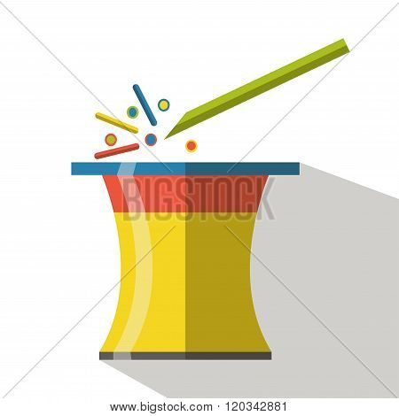 Magic hat icon vector flat isolated with wand