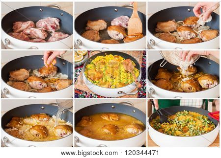 A Step By Step Collage Of Making Chicken Thigh Biryani With Green Peas