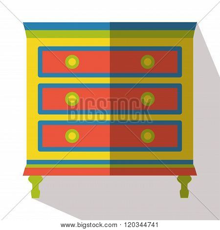 Drawer red icon vector flat isolated long shadow poster