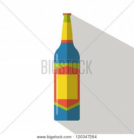 Beer bottle icon vector flat isolated cartoon logo