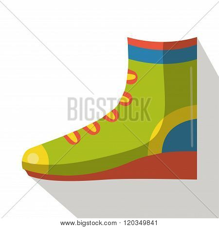 Hiking boots icon vector flat isolated side view cartoon