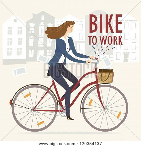 Bike To Work Vector Illustration