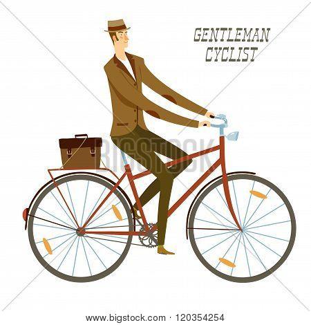City Man Cyclist Vector Illustration