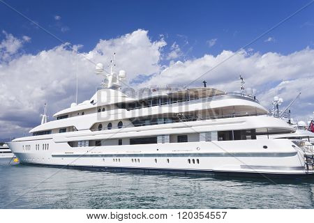 Cannes, French Riviera, France - September 11, 2013 : super yacht mooring in Cannes French Riviera