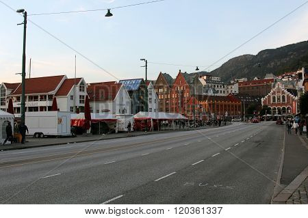 Walk through the city of Bergen, Norway