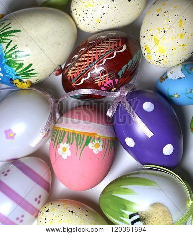 Mix of multicolored painted vivid Easer eggs poster
