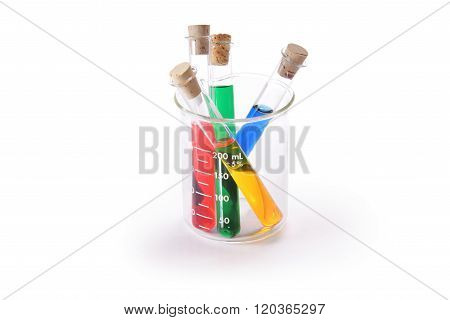 Colorful test tubes and beaker