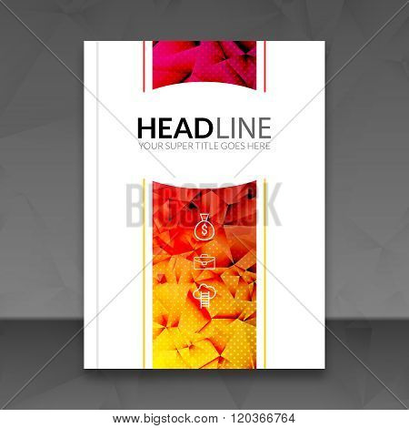 Cover report colorful triangle geometric prospectus design background, cover flyer magazine, brochur