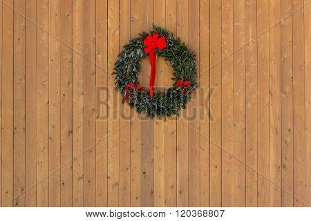 Christmas Wreath On Wooden Wall Horizontal