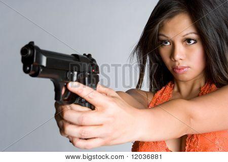 Asian Woman Pointing Gun