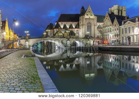 Quay Graslei and St Michael Bridge at night, Ghent