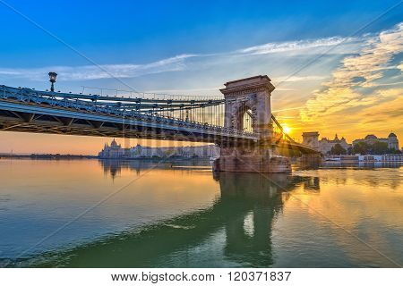 Sunrise At Budapest City And Chain Bridge , Budapest , Hungary