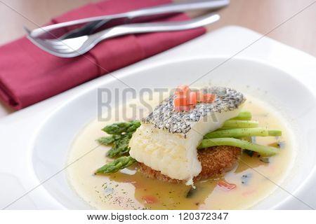 Braised cod fish