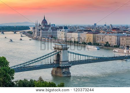Budapest City Skyline When Sunset , Hungary