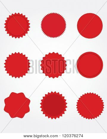 A collection of official red seals and starbursts