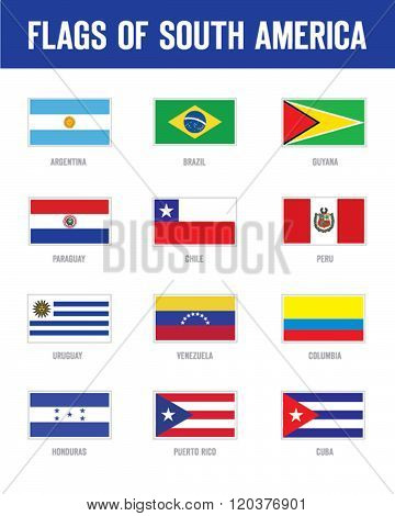 Vector Flags of South America Set