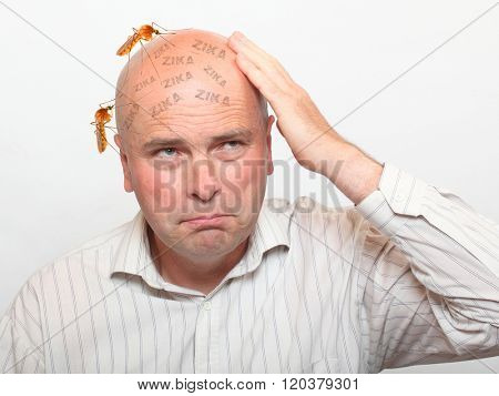 Hairless man with sucking mosquitos on his head. Mosquito is dangerous vehicle of zika, dengue, chikungunya, malaria and other infections. Digital artwork on healthcare theme.