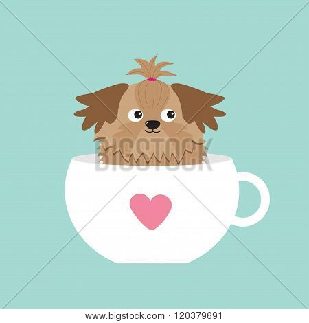 Shih Tzu Dog Sitting In Pink Cup With Heart. Cute Cartoon Character. Flat Design.  Blue Background.