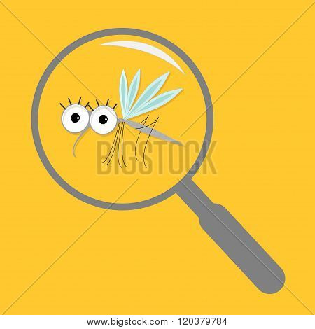 Mosquito Magnifer Research Cute Cartoon Funny Character. Insect Collection. Baby Illustration. Yello