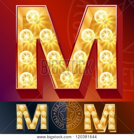 Fantastic vector  light up font with lamp. Letter M