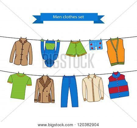 Set of color clothes for the man on the clothes line. Collection