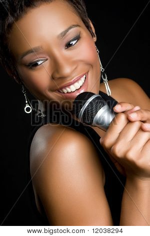 Beautiful African American Woman Singing