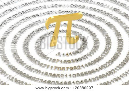 3.14 pi concept isolated on white background