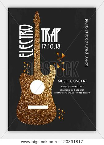 Electro Trap, Musical Party celebration Flyer, Banner or Pamphlet with creative illustration of a Guitar.