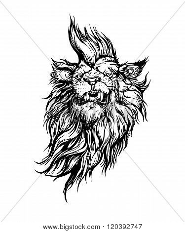Vector hand drawn realistic lion punk character.