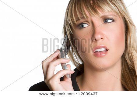 Gefrustreerd vrouw op telefoon