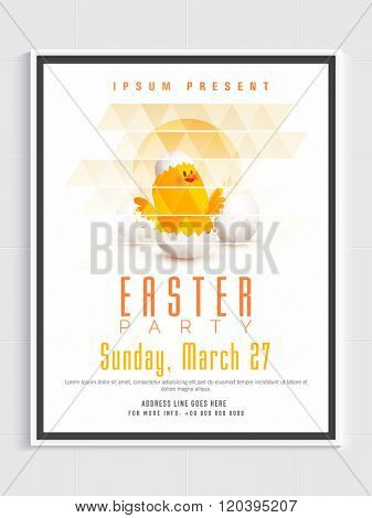 Creative Pamphlet, Banner or Flyer design with illustration of cute chick in cracked egg for Happy Easter celebration.