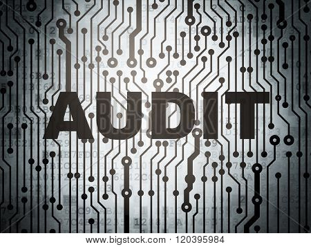 Finance concept: circuit board with Audit