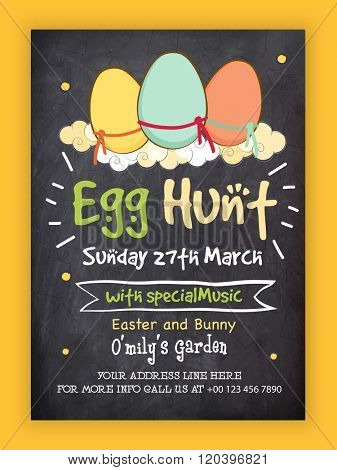 Easter Egg Hunt Party Invitation Card in chalkboard style with illustration of colorful eggs on clouds, Can be used as Pamphlet, Banner or Flyer design.