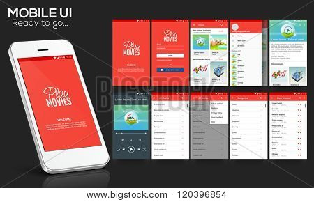 Material Design UI, UX Screen, flat web icons for mobile apps, responsive websites with Welcome Screen, Login Form, Showcase Screen, Information Screen, Play Movies Screen, and Favourites Screen.