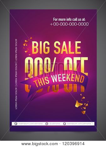 Big Sale Banner, Sale Poster, Sale Flyer, Sale Vector. 30% Off, Sale Background. Big Sale, Super Sale, Special Offer, This Weekend Only. Vector illustration.
