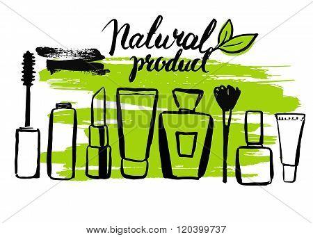 Set brush hand drawn natural eco cosmetics