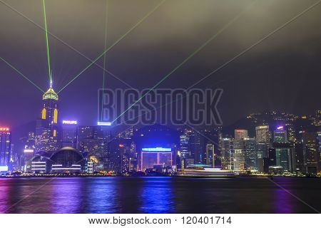 CHINA, HONG KONG - OCTOBER 2013: The famous Symphony of Lights show on the skyline of Hong Kong