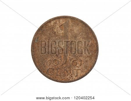 Old Dutch Cent Coin, Isolated
