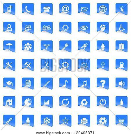 modern design business blue web icons set
