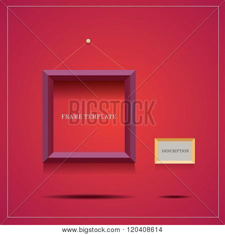 square modern purple frame with description blank on red background poster
