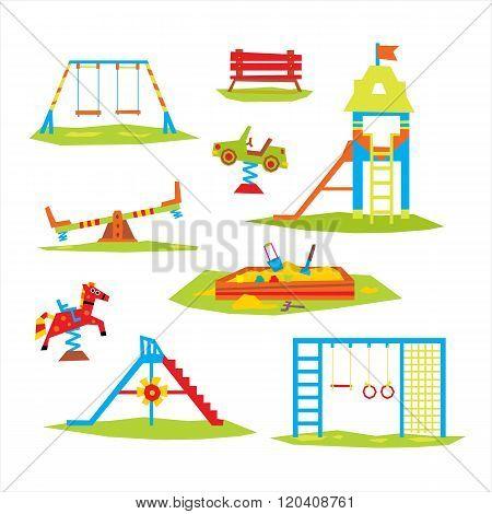 Children Playground, Colourful  Vector Illustration