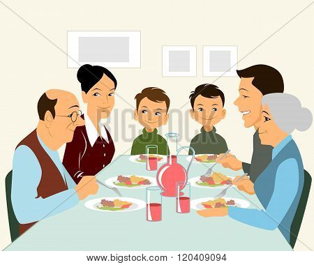 Big Family Eating