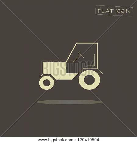 Flat icon tractor. Light tractor on dark background. Vector icon. Icon tractor object.