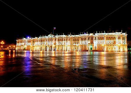 Night view of Winter Palace in Saint Petersburg. Colorful illumination of Hermitage.